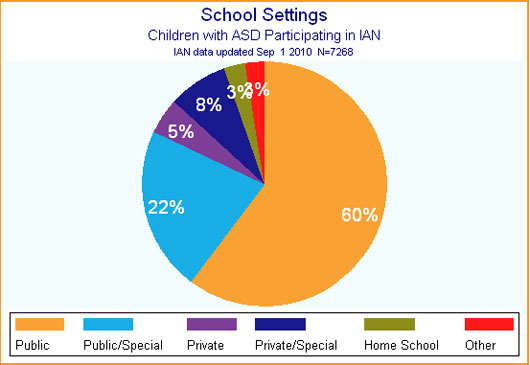 Pie chart showing what type of school children with ASD participating in IAN Research attend