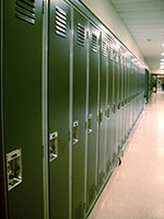 Photo of school lockers for article about autism and education