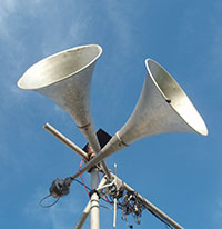 Photo of outdoor horns, to illustrate noise sensitivity in autism