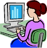 Illustration of a woman using a computer