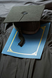 Photo of college cap and gown