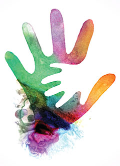watercolor illustration of parent hand and child hand from iStock