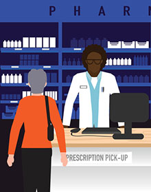 illustration of pharmacist and customer