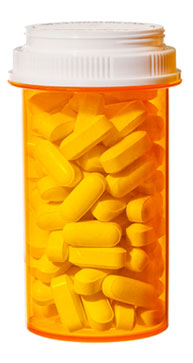 photo illustration of bottle containing antidepressant pills