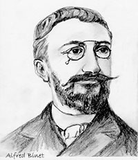 Drawing of psychologist Alfred Binet, from Wikimedia Commons